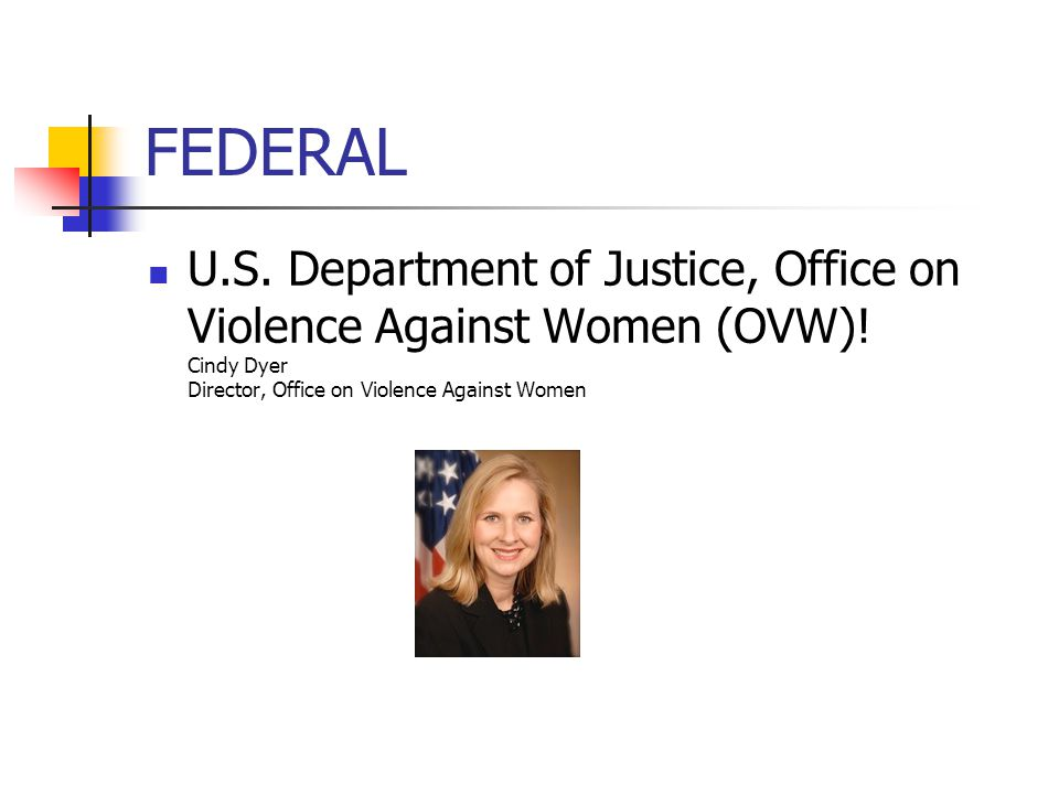 FEDERAL U.S. Department of Justice, Office on Violence Against Women (OVW)! Cindy Dyer Director, Office on Violence Against Women