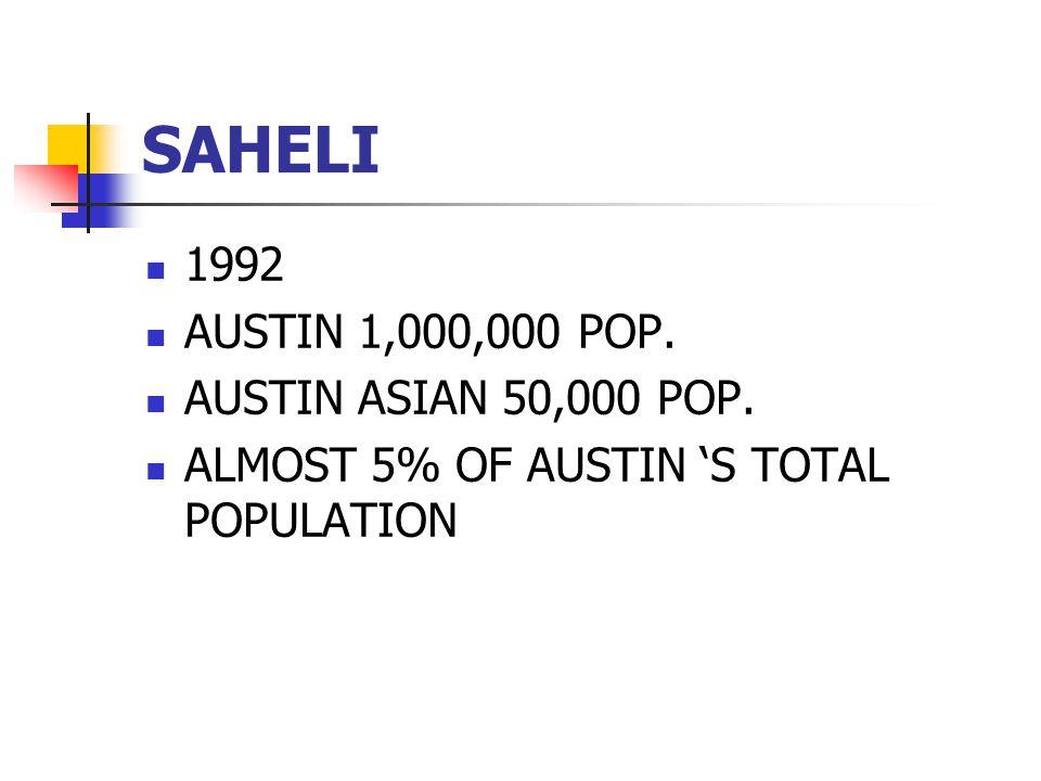 SAHELI 1992 AUSTIN 1,000,000 POP. AUSTIN ASIAN 50,000 POP. ALMOST 5% OF AUSTIN 'S TOTAL POPULATION