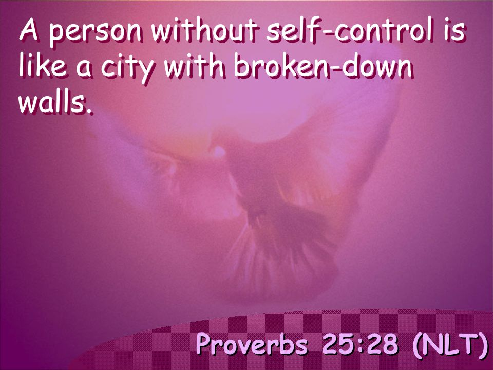 Proverbs 25:28 (NLT) A person without self-control is like a city with broken-down walls.