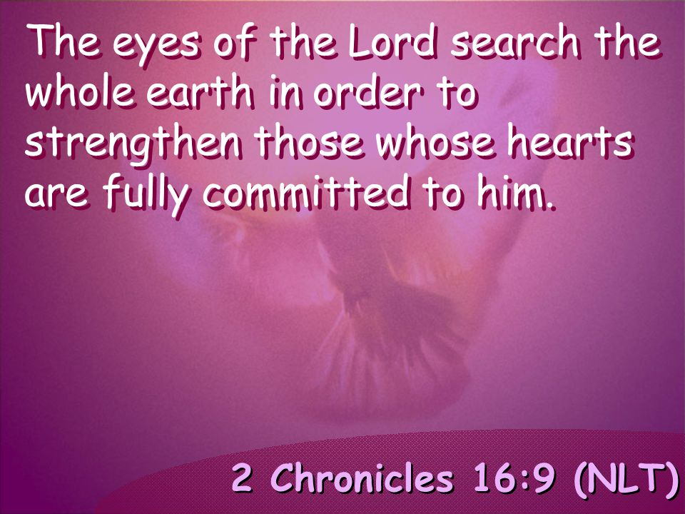 2 Chronicles 16:9 (NLT) The eyes of the Lord search the whole earth in order to strengthen those whose hearts are fully committed to him.