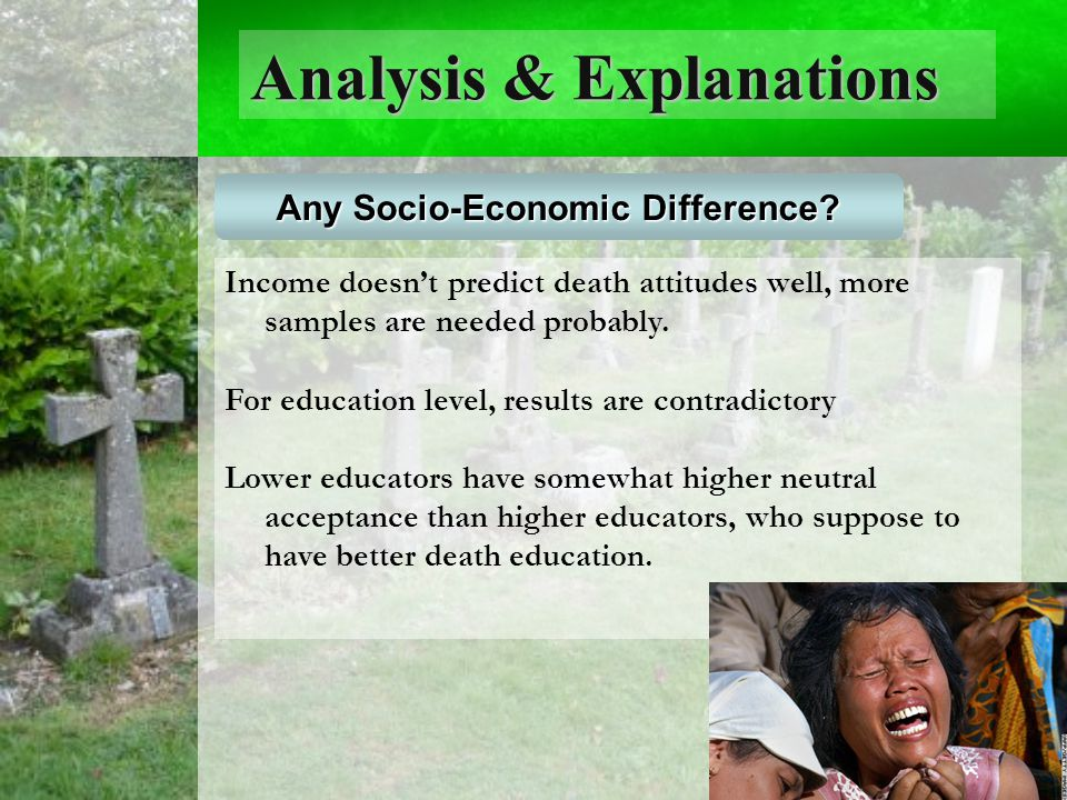 Analysis & Explanations Any Socio-Economic Difference.