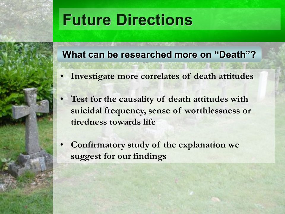 Future Directions Investigate more correlates of death attitudes Test for the causality of death attitudes with suicidal frequency, sense of worthlessness or tiredness towards life Confirmatory study of the explanation we suggest for our findings What can be researched more on Death