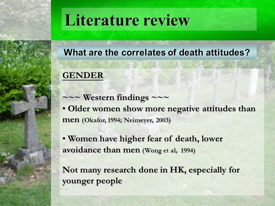Literature review What are the correlates of death attitudes.