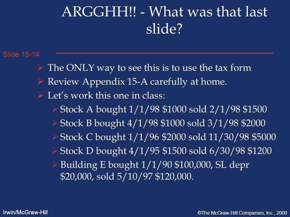 Slide 15-14 Irwin/McGraw-Hill ©The McGraw-Hill Companies, Inc., 2000 ARGGHH!.