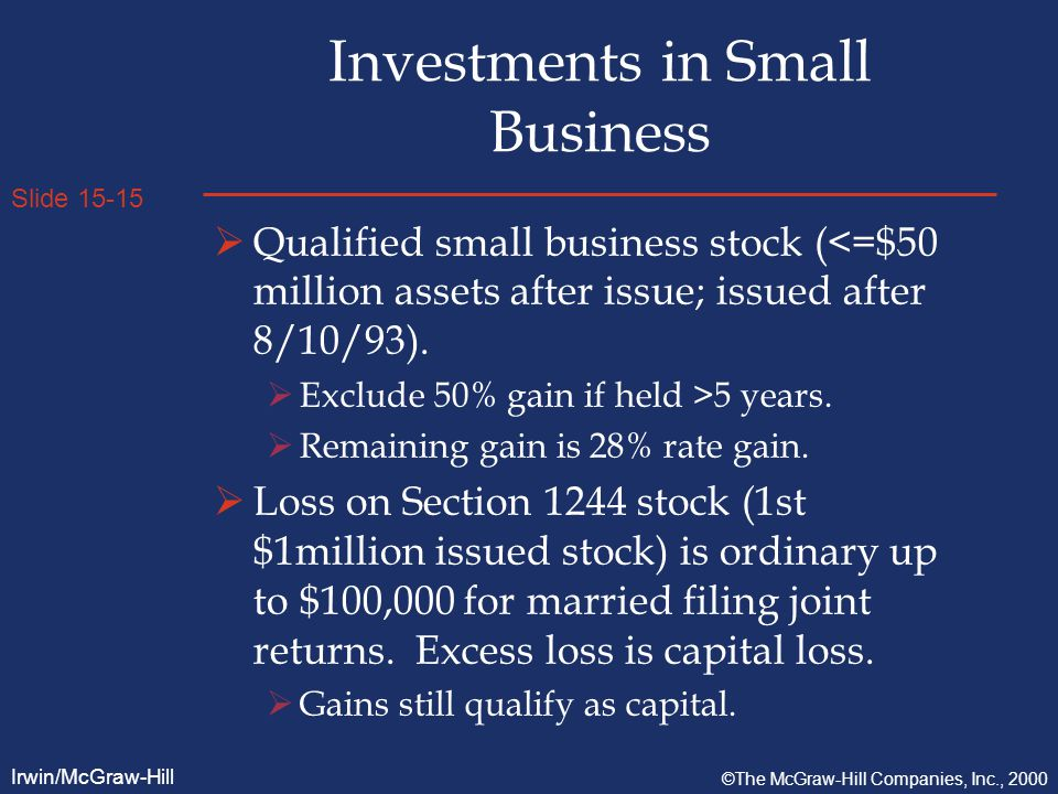 Slide 15-15 Irwin/McGraw-Hill ©The McGraw-Hill Companies, Inc., 2000 Investments in Small Business  Qualified small business stock (<=$50 million assets after issue; issued after 8/10/93).