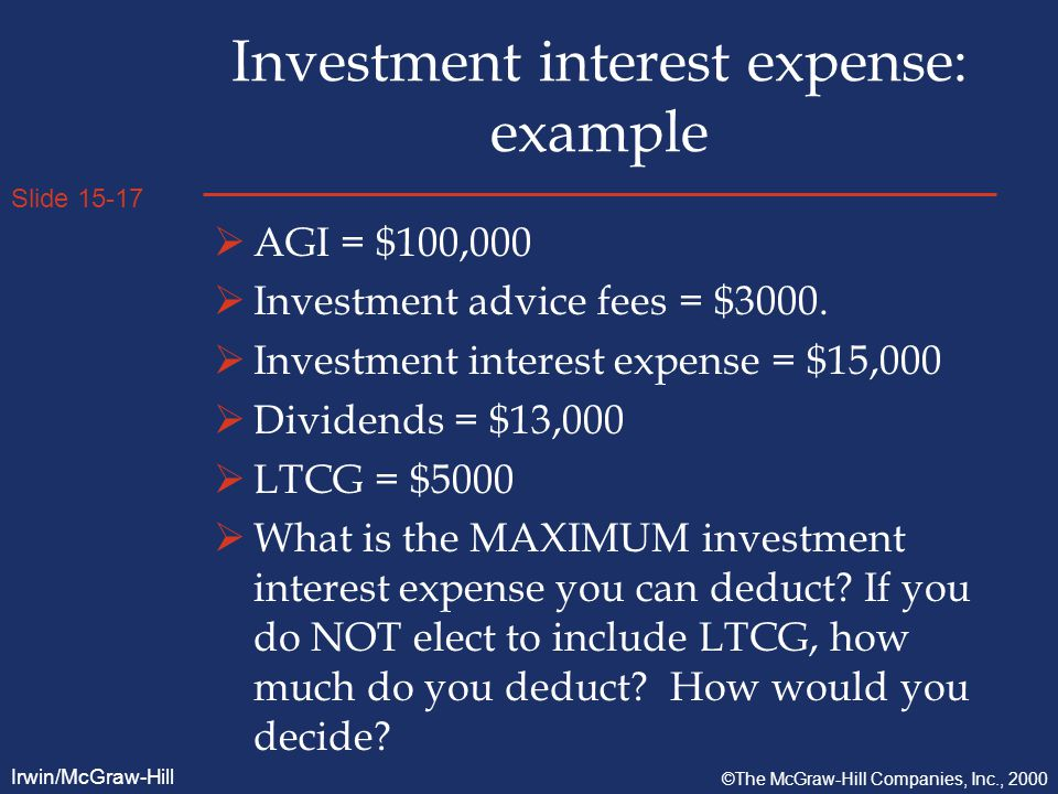 Slide 15-17 Irwin/McGraw-Hill ©The McGraw-Hill Companies, Inc., 2000 Investment interest expense: example  AGI = $100,000  Investment advice fees = $3000.