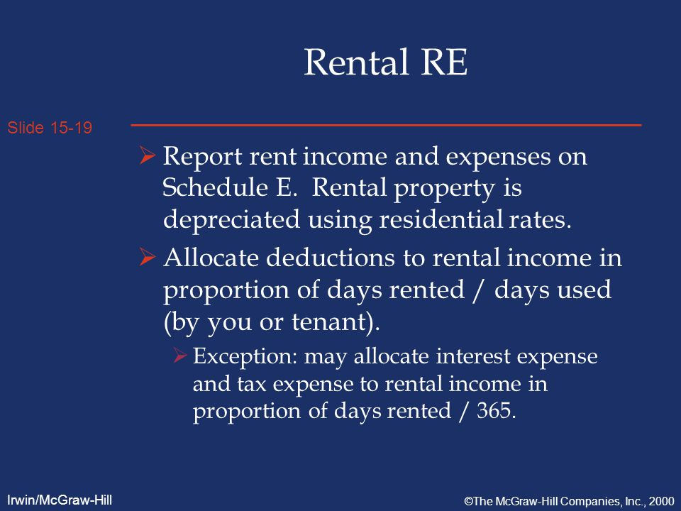 Slide 15-19 Irwin/McGraw-Hill ©The McGraw-Hill Companies, Inc., 2000 Rental RE  Report rent income and expenses on Schedule E.