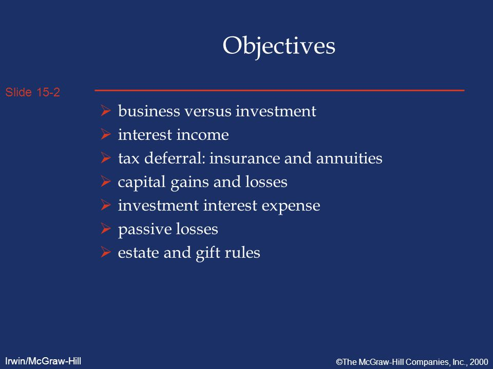 Slide 15-2 Irwin/McGraw-Hill ©The McGraw-Hill Companies, Inc., 2000 Objectives  business versus investment  interest income  tax deferral: insurance and annuities  capital gains and losses  investment interest expense  passive losses  estate and gift rules