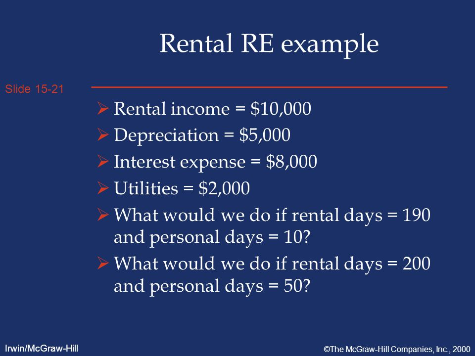 Slide 15-21 Irwin/McGraw-Hill ©The McGraw-Hill Companies, Inc., 2000 Rental RE example  Rental income = $10,000  Depreciation = $5,000  Interest expense = $8,000  Utilities = $2,000  What would we do if rental days = 190 and personal days = 10.