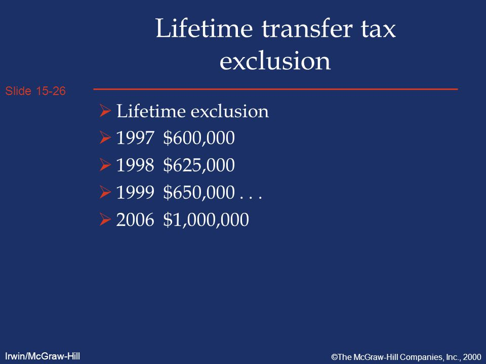 Slide 15-26 Irwin/McGraw-Hill ©The McGraw-Hill Companies, Inc., 2000 Lifetime transfer tax exclusion  Lifetime exclusion  1997 $600,000  1998 $625,000  1999 $650,000...