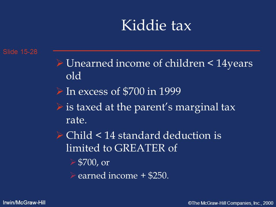 Slide 15-28 Irwin/McGraw-Hill ©The McGraw-Hill Companies, Inc., 2000 Kiddie tax  Unearned income of children < 14years old  In excess of $700 in 1999  is taxed at the parent's marginal tax rate.
