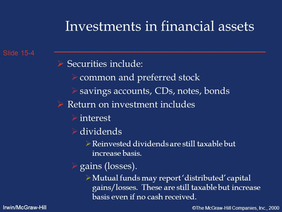Slide 15-4 Irwin/McGraw-Hill ©The McGraw-Hill Companies, Inc., 2000 Investments in financial assets  Securities include:  common and preferred stock  savings accounts, CDs, notes, bonds  Return on investment includes  interest  dividends  Reinvested dividends are still taxable but increase basis.