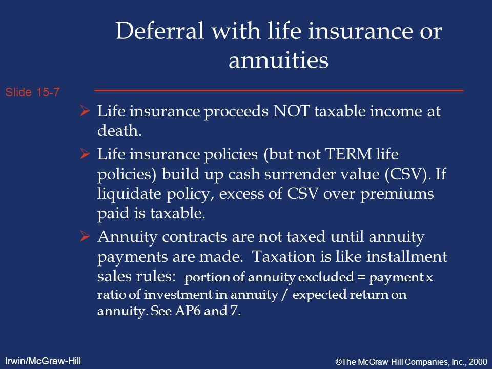 Slide 15-7 Irwin/McGraw-Hill ©The McGraw-Hill Companies, Inc., 2000 Deferral with life insurance or annuities  Life insurance proceeds NOT taxable income at death.