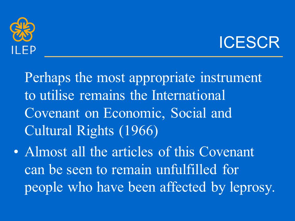 ICESCR Perhaps the most appropriate instrument to utilise remains the International Covenant on Economic, Social and Cultural Rights (1966) Almost all the articles of this Covenant can be seen to remain unfulfilled for people who have been affected by leprosy.
