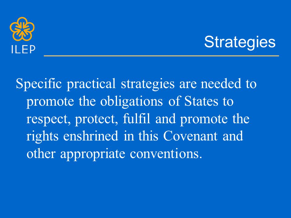 Strategies Specific practical strategies are needed to promote the obligations of States to respect, protect, fulfil and promote the rights enshrined in this Covenant and other appropriate conventions.