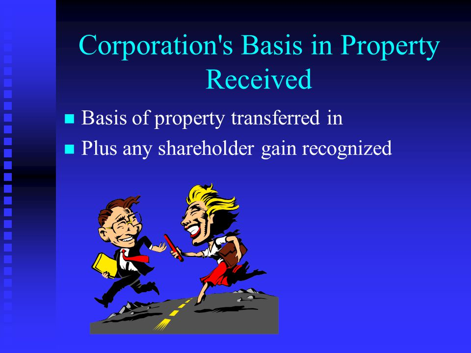 Solution--Compliance Query: Inventory Transferred in a §351 Transaction n n Corp's basis in inventory = 56,000 CALCULATION Basis of property transferred to corporation 48,000 Gain recognized 6,000 Stock basis 56,000