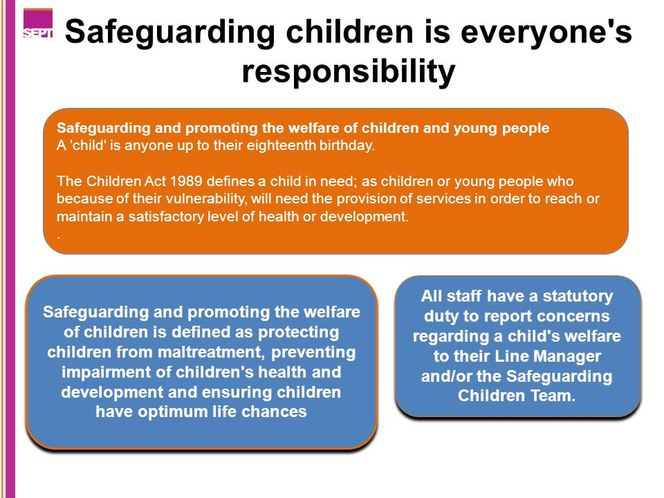 Safeguarding children is everyone s responsibility Safeguarding and promoting the welfare of children and young people A child is anyone up to their eighteenth birthday.