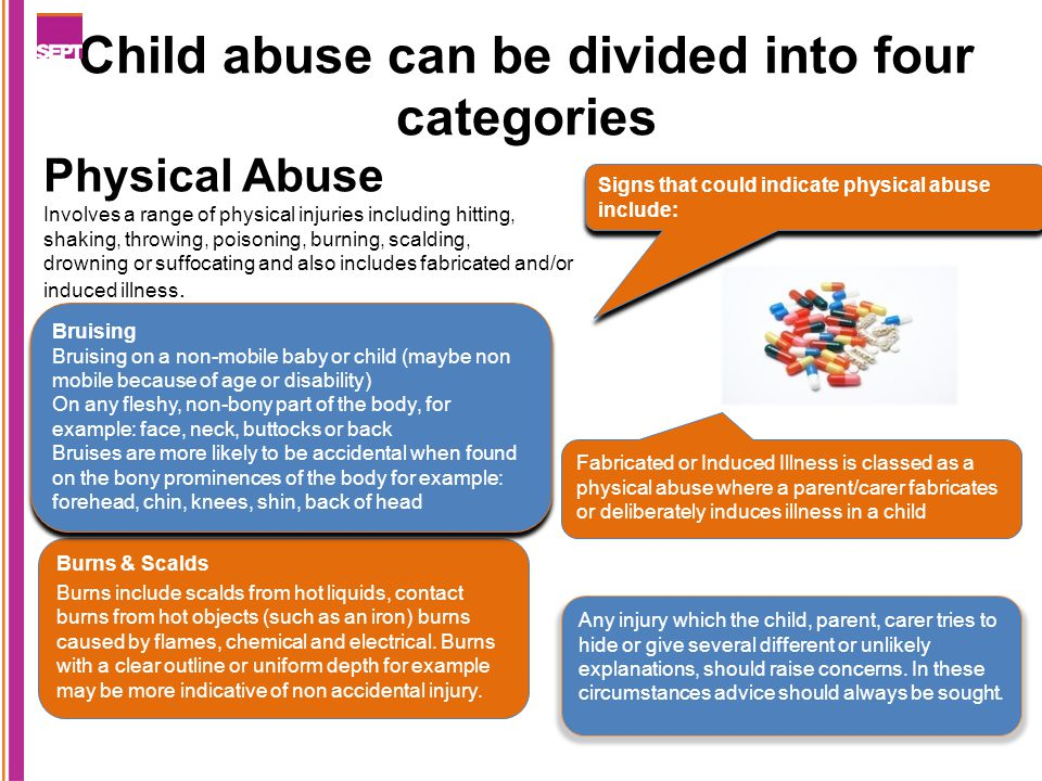 Child abuse can be divided into four categories Burns & Scalds Burns include scalds from hot liquids, contact burns from hot objects (such as an iron) burns caused by flames, chemical and electrical.
