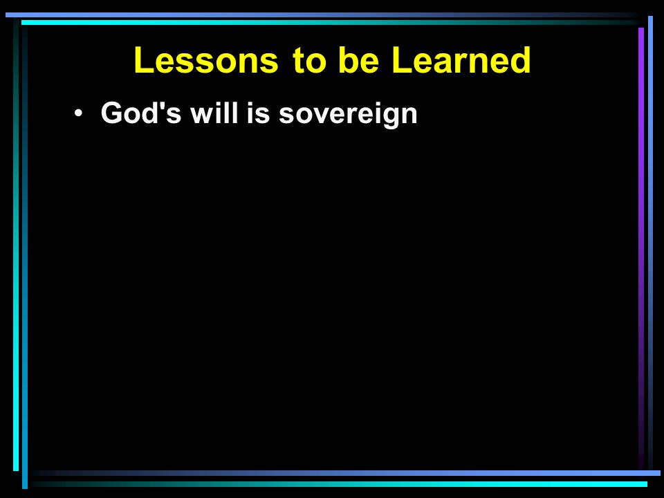 God s will is sovereign
