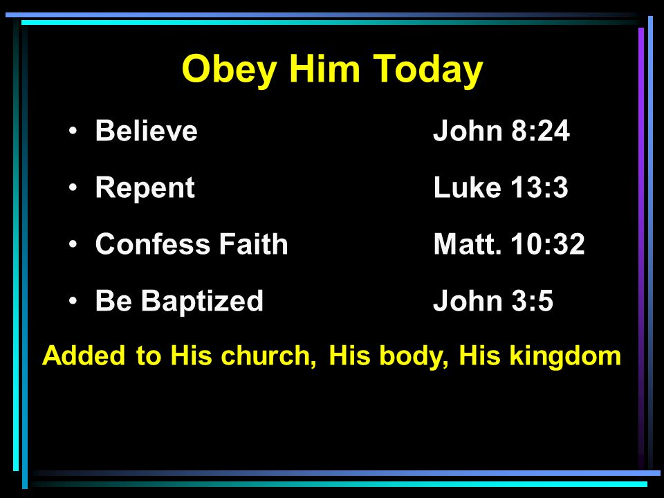 Obey Him Today Believe John 8:24 RepentLuke 13:3 Confess FaithMatt.