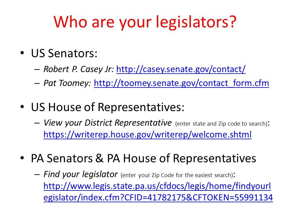 Who are your legislators. US Senators: – Robert P.