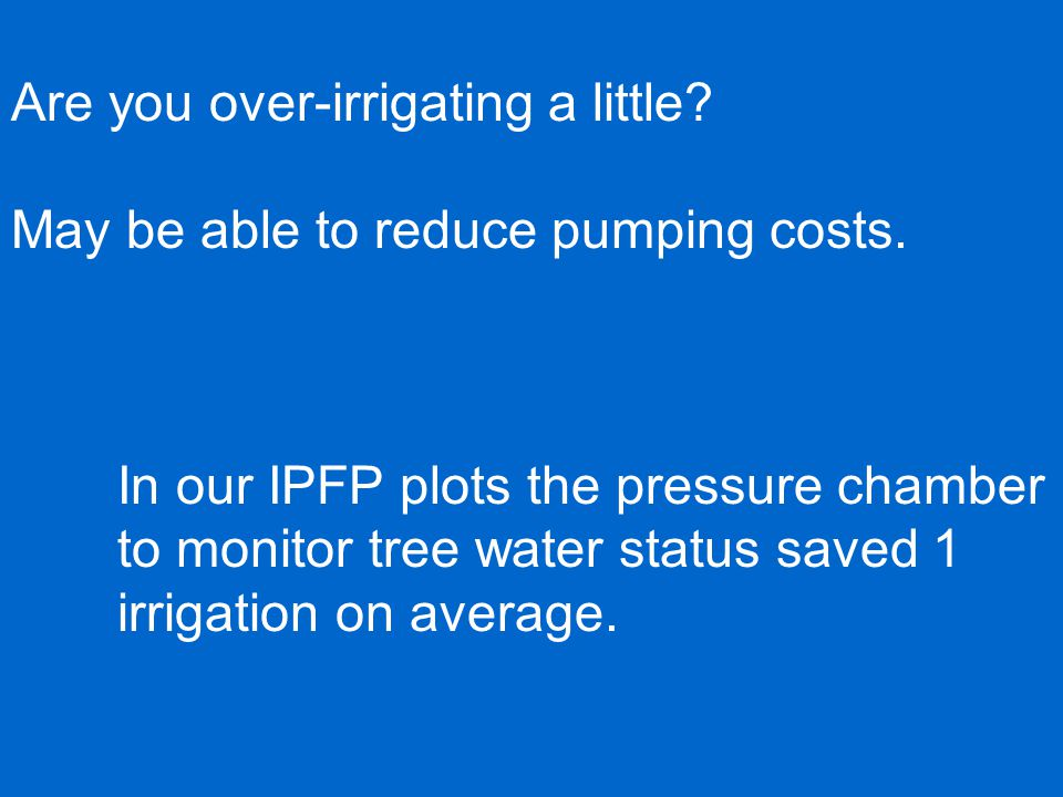 Are you over-irrigating a little. May be able to reduce pumping costs.