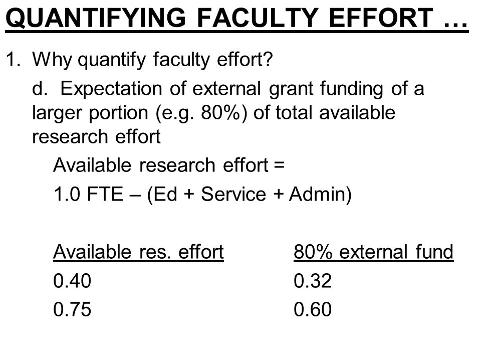 QUANTIFYING FACULTY EFFORT … 1.Why quantify faculty effort.