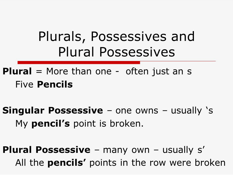Plurals, Possessives and Plural Possessives Plural = More than one - often just an s Five Pencils Singular Possessive – one owns – usually 's My pencil's point is broken.