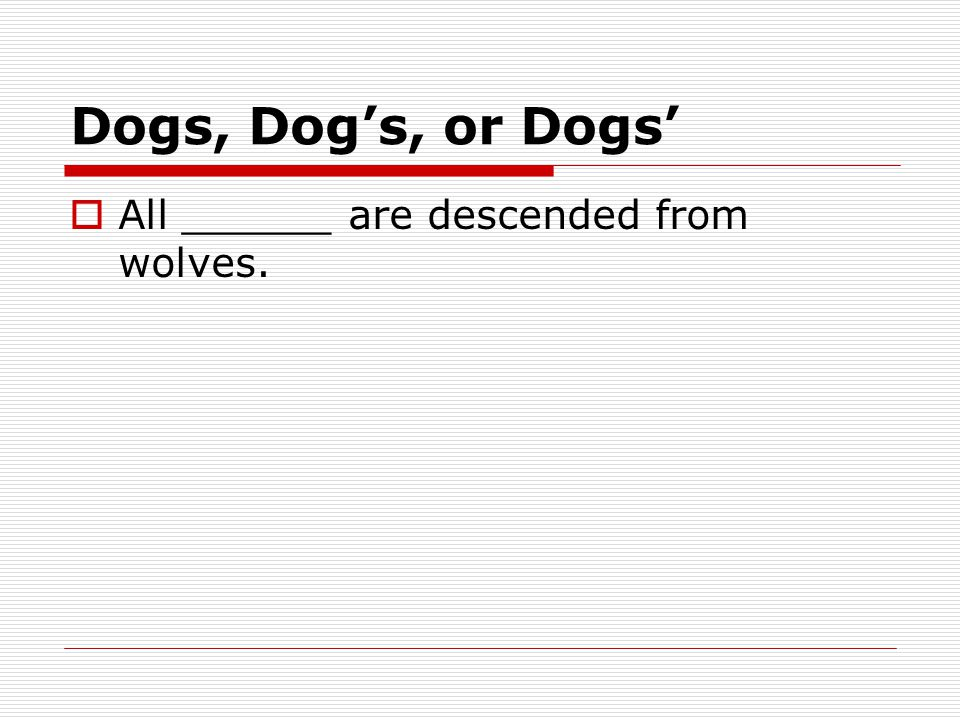 Dogs, Dog's, or Dogs'  All ______ are descended from wolves.