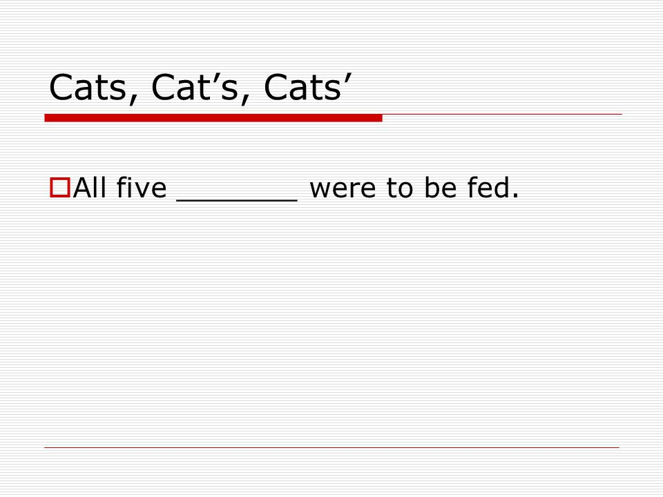Cats, Cat's, Cats'  All five _______ were to be fed.