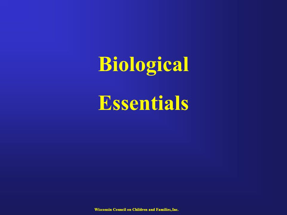 Biological Essentials Wisconsin Council on Children and Families, Inc.