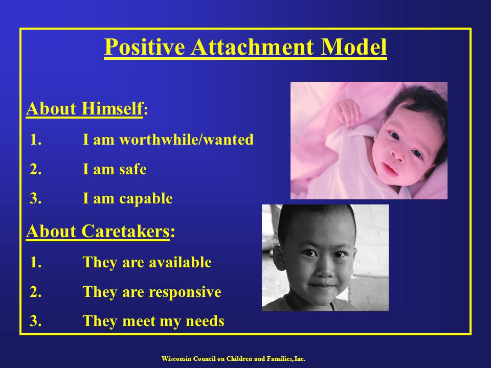 Wisconsin Council on Children and Families, Inc. Positive Attachment Model About Himself : 1. I am worthwhile/wanted 2. I am safe 3. I am capable Abou