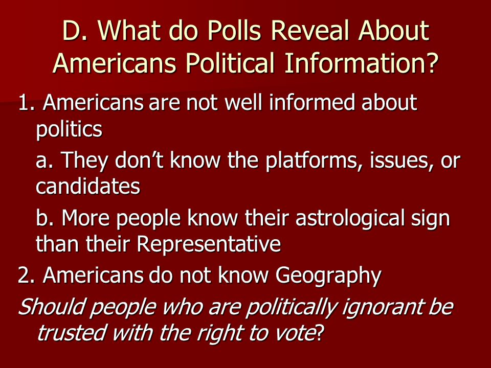 C. What do Polls Reveal About Americans' Political Information.