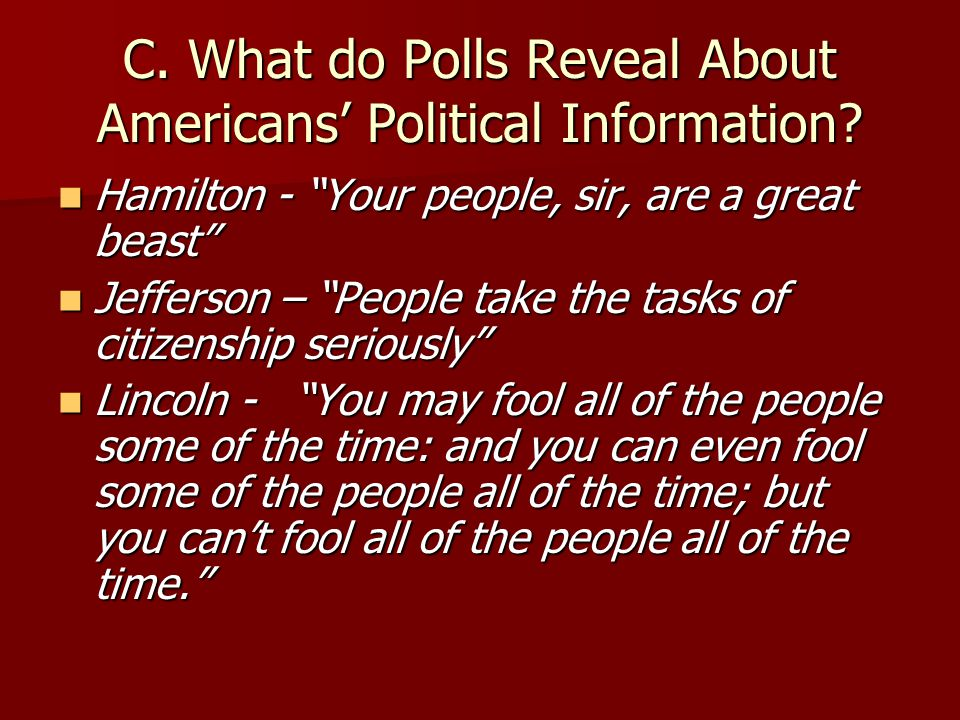B. Role of Polls in American Democracy 1.