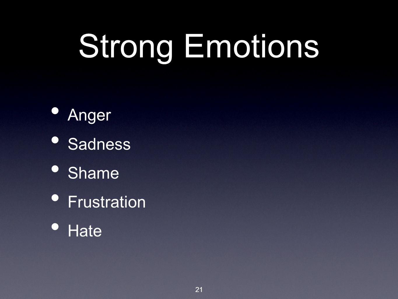 21 Strong Emotions Anger Sadness Shame Frustration Hate
