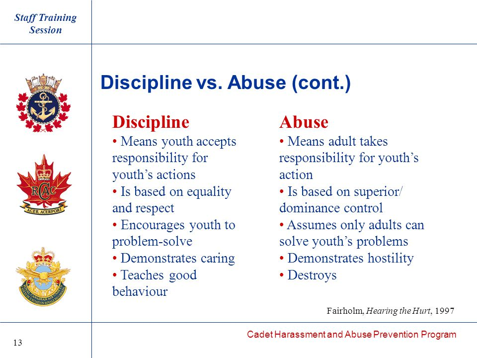 Cadet Harassment and Abuse Prevention Program Discipline vs.