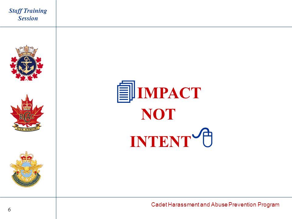 Cadet Harassment and Abuse Prevention Program  IMPACT NOT INTENT  Staff Training Session 6
