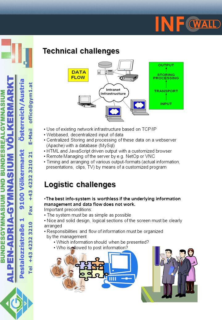Technical challenges Logistic challenges Use of existing network infrastructure based on TCP/IP Webbased, decentralized input of data Centralized Storing and processing of these data on a webserver (Apache) with a database (MySql) HTML and JavaScript driven output with a customized browser Remote Managing of the server by e.g.