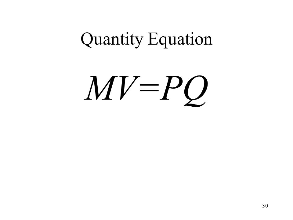 30 Quantity Equation MV=PQ