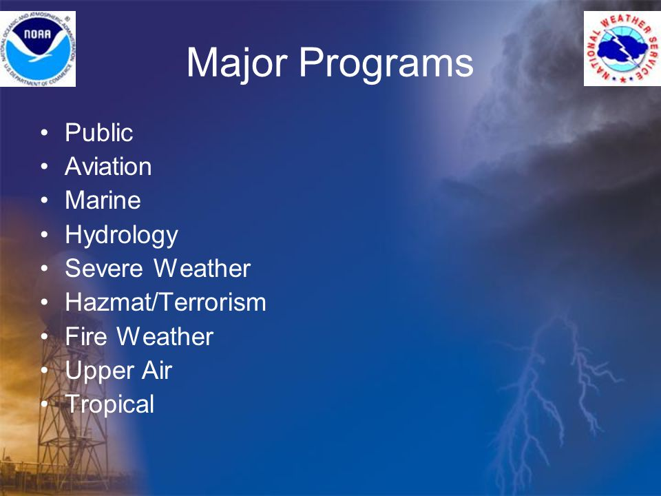 Major Programs Public Aviation Marine Hydrology Severe Weather Hazmat/Terrorism Fire Weather Upper Air Tropical