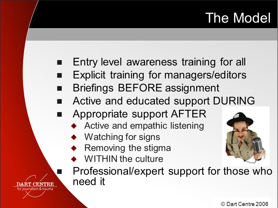 © Dart Centre 2006 The Model Entry level awareness training for all Explicit training for managers/editors Briefings BEFORE assignment Active and educ