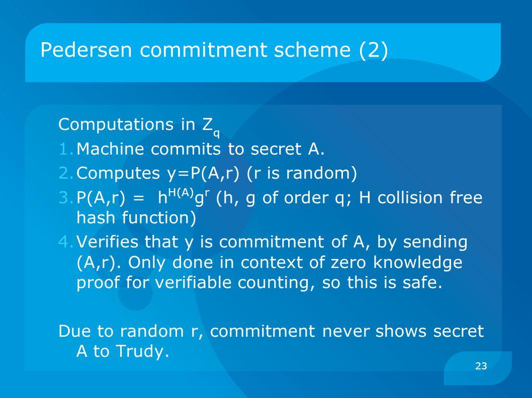 23 Pedersen commitment scheme (2) Computations in Z q 1.Machine commits to secret A.