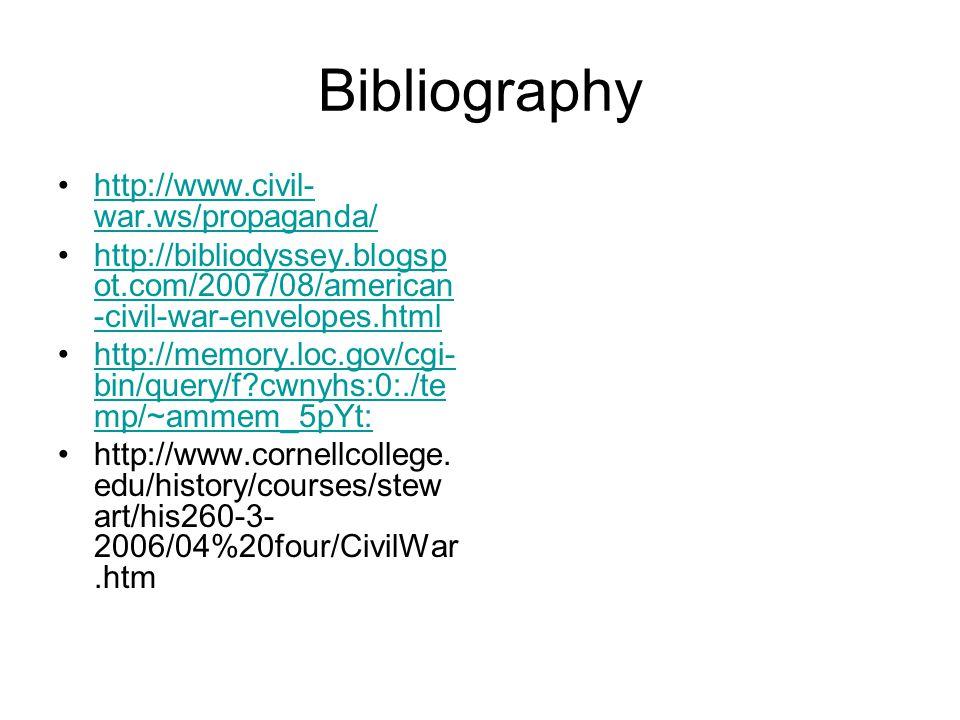 Bibliography http://www.civil- war.ws/propaganda/http://www.civil- war.ws/propaganda/ http://bibliodyssey.blogsp ot.com/2007/08/american -civil-war-envelopes.htmlhttp://bibliodyssey.blogsp ot.com/2007/08/american -civil-war-envelopes.html http://memory.loc.gov/cgi- bin/query/f cwnyhs:0:./te mp/~ammem_5pYt:http://memory.loc.gov/cgi- bin/query/f cwnyhs:0:./te mp/~ammem_5pYt: http://www.cornellcollege.