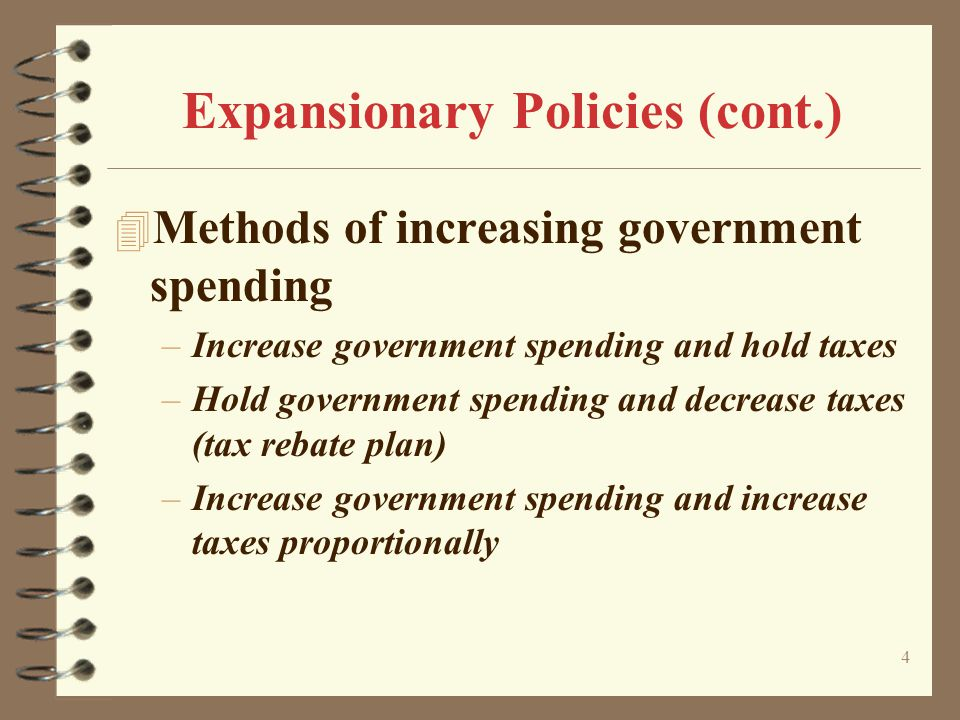 4 Expansionary Policies (cont.) 4 Methods of increasing government spending –Increase government spending and hold taxes –Hold government spending and