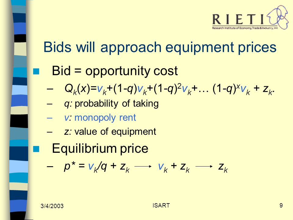 3/4/2003 ISART9 Bids will approach equipment prices Bid = opportunity cost –Q k (x)=v k +(1-q)v k +(1-q) 2 v k +… (1-q) x v k + z k.