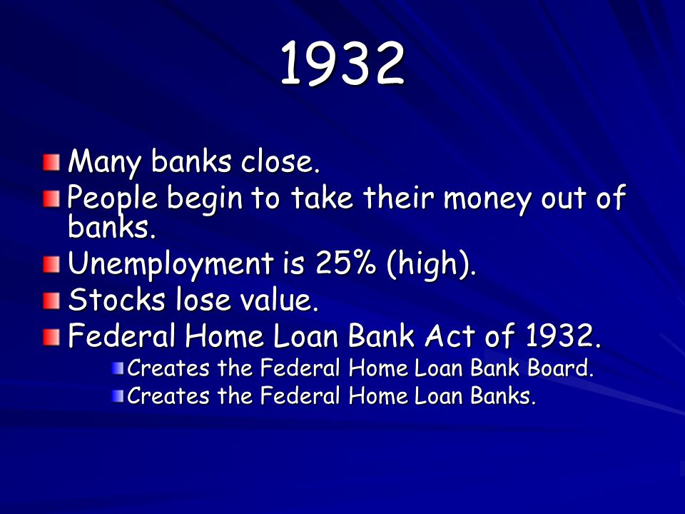 1932 Many banks close.People begin to take their money out of banks.