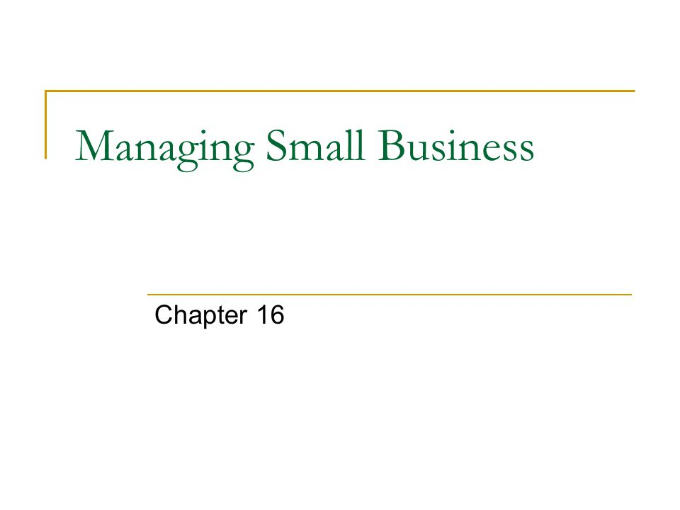 Managing Small Business Chapter 16