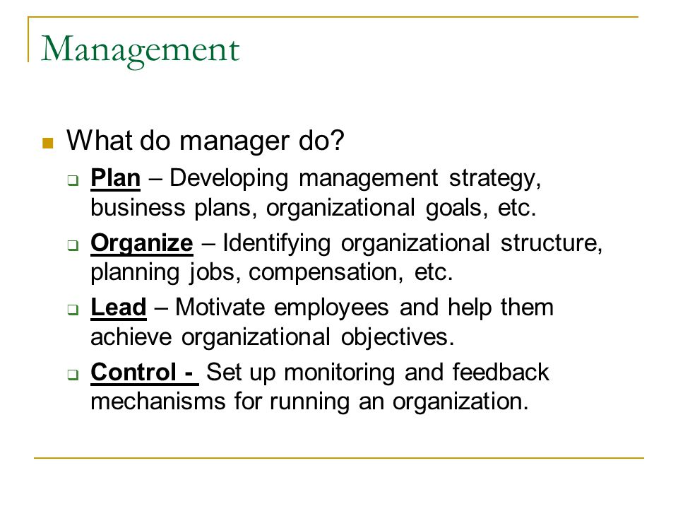 Management What do manager do.