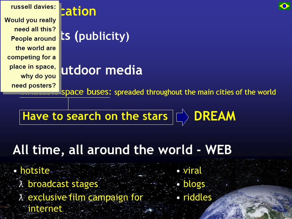 communication Press kits ( publicity) hotsite ƛ broadcast stages ƛ exclusive film campaign for internet All time, all around the world - WEB viral blogs riddles Main - outdoor media Have to search on the stars inflatable space buses: spreaded throughout the main cities of the world DREAM russell davies: Would you really need all this.