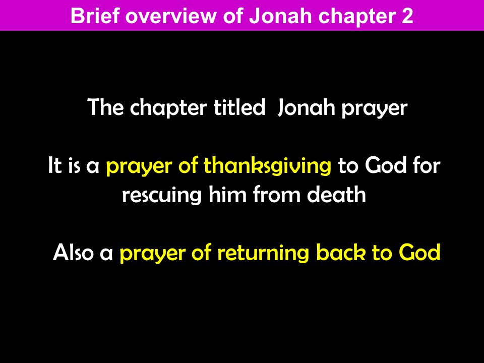 Jonah 2 1 From inside the fish Jonah prayed to the L ORD his God.